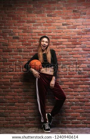nő · játszik · kosárlabda · fekete · divat · modell - stock fotó © deandrobot