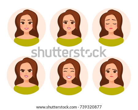 surprised business woman emotional girl character flat cartoon v stock photo © nikodzhi