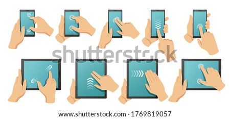 Stock photo: Hand using multitask tablet with application symbols and icons concept