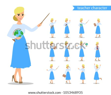 Teacher flat cadtoon character. Set of fun vector cartoon person. Isolated on white background. Stock photo © bonnie_cocos