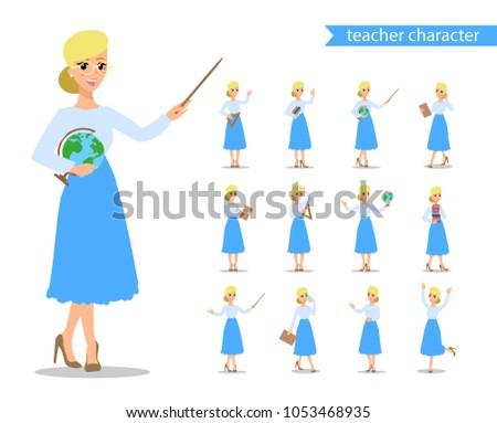 öğretmen · karakter · ayarlamak · eğlence · vektör · karikatür - stok fotoğraf © bonnie_cocos