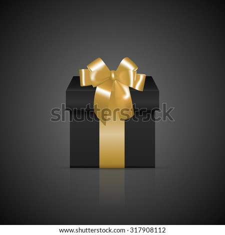 Black Gift box and golden bow set Vector realistic. Product placement mock up. Design packaging 3d i stock photo © frimufilms