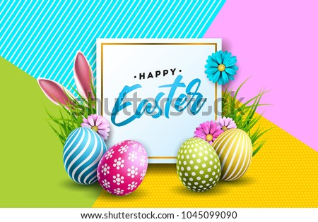 Happy Easter Holiday Illustration with Rabbit Ears, Painted Egg and Flower on Nature Grass Backgroun Stock photo © articular