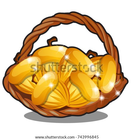Wicker basket filled with golden nuts isolated on white background. The character of Russian folk ta Stock photo © Lady-Luck