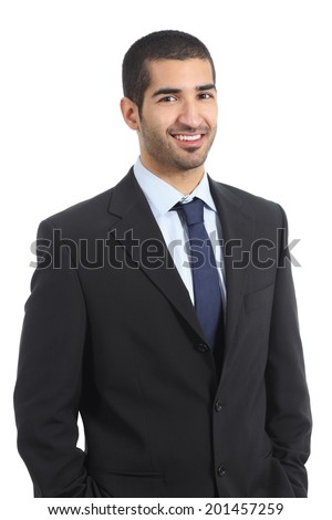 image of handsome arabic businessman 30s in formal suit smiling stock photo © deandrobot