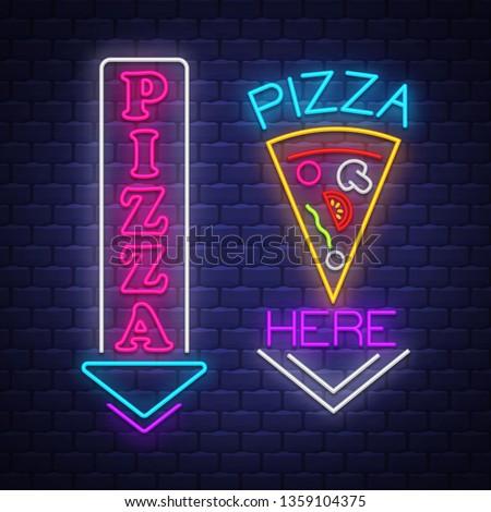 Pizza teken collectie neonreclame vector muur Stockfoto © balasoiu