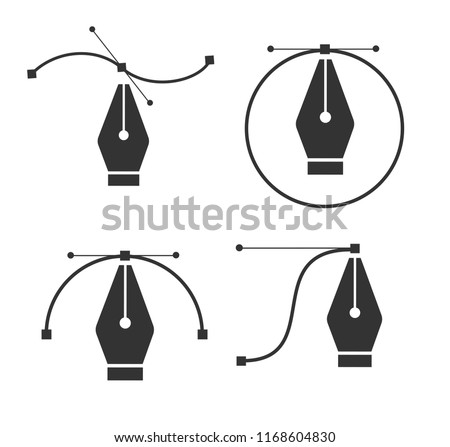 Pen tool. Vector computer graphics. The curve control points. Black path with mouse cursor. Vector i Stock photo © kyryloff