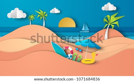Paper cut style blue sea and beach summer background with frame. Vector illustration Stock photo © olehsvetiukha