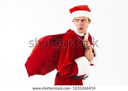 портрет недовольный человека 30-х годов Дед Мороз костюм Сток-фото © deandrobot