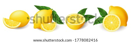 realistic bright yellow lemon with green leaf whole and sliced set stock photo © marysan