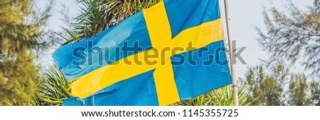 Vlag Zweden achtergrond palmbomen banner lang Stockfoto © galitskaya