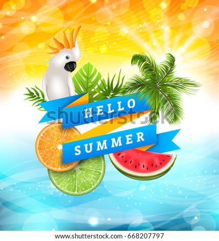Desfrutar férias de verão projeto papagaio flor tropical Foto stock © articular
