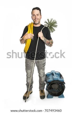 ventilação · limpador · homem · trabalhar · ferramenta · branco - foto stock © Lopolo