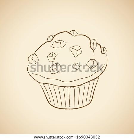 Kömür çizim çörek ikon bej vektör Stok fotoğraf © cidepix