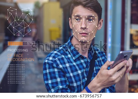 Face recognition on polygonal grid is constructed by the points. Biometric verification Stock photo © galitskaya