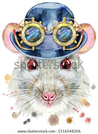 Akwarela portret biały szczur hat melonik Zdjęcia stock © Natalia_1947