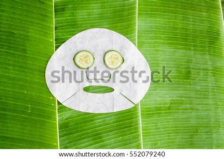 лист · лице · маске · огурца · банан · лист - Сток-фото © galitskaya