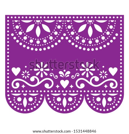 Papel Picado vector template with no text, floral purple design with abstract shapes, retro Mexican  Stock photo © RedKoala