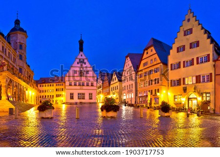 Main square (Marktplatz or Market square) of medieval German tow Stock photo © xbrchx