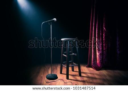 áll felfelé vígjáték előadás mikrofon zsámoly Stock fotó © Winner