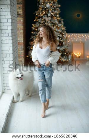 ストックフォト: 少女 · 犬 · 新しい · 年 · 写真 · スタジオ