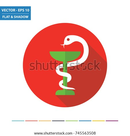 pharmacy symbol chalice and snake icon with shadow on a green circle vector pharmacy illustration stock photo © imaagio