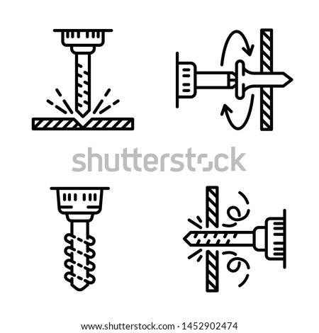 Lyuk fúrás ikon szett fúró szerszámok Stock fotó © gomixer