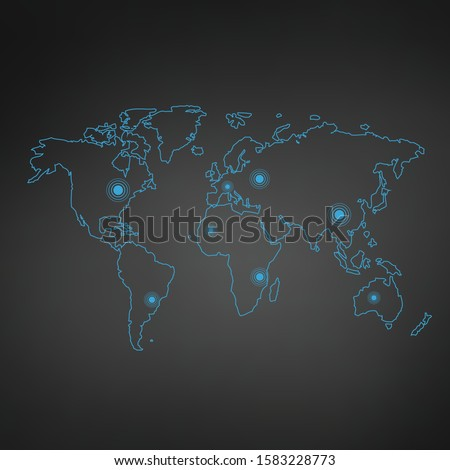 Blue thin line World map contour. education infographic element. stroke flat style design. Vector il Stock photo © kyryloff