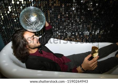 устал человека Disco Ball голову флейта шампанского Сток-фото © pressmaster