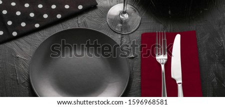 Empty tableware with red napkin, food styling plating props, del Stock photo © Anneleven