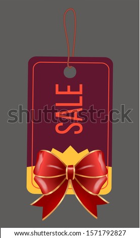 Sale with Discount, Caption on Tag with Red Bow Stock photo © robuart