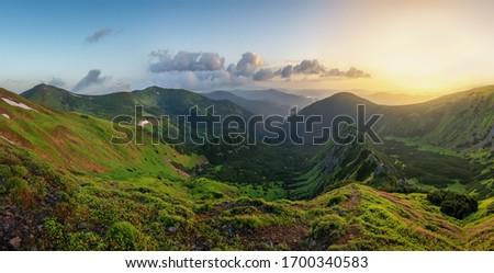 Fenséges zöld hegyek hegy út vulkán Stock fotó © galitskaya