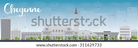 Cheyenne (Wyoming) Skyline with Grey Buildings, Blue Sky and cop Stock photo © ShustrikS