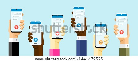 Social media communication with a lot of peoples via application. WhatsApp, Twitter, Facebook, Insta Stock photo © karetniy