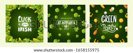 Saint Patrick's Day Design with National Color Flag and Typography Letter on Vintage Wood Background Stock photo © articular