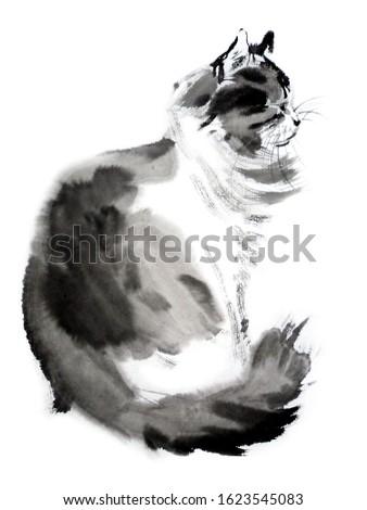 Watercolor oriental black cat. Painting animal illustration Stock photo © Natalia_1947