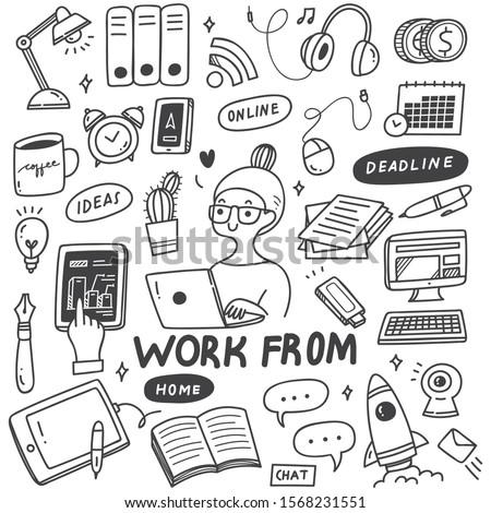 Karikatür vektör karalamalar evden çalışma örnek Stok fotoğraf © balabolka