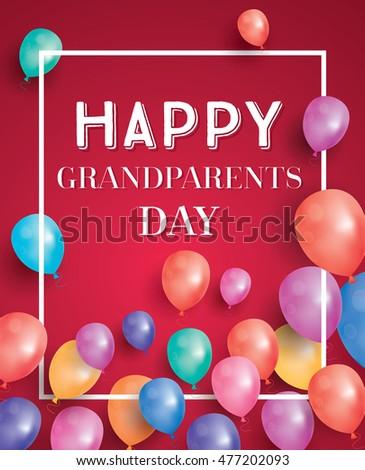 Boldog nagyszülők nap kártya repülés léggömbök Stock fotó © ShustrikS
