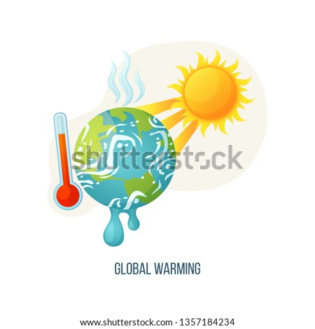 Earth global warming. Vector planet thermometer with scale showing red color. Warning ecology poster Stock photo © designer_things
