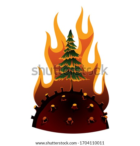 Earth global warming. Vector planet with cut down trees and fire. Warning ecology poster. Concept gl Stock photo © designer_things