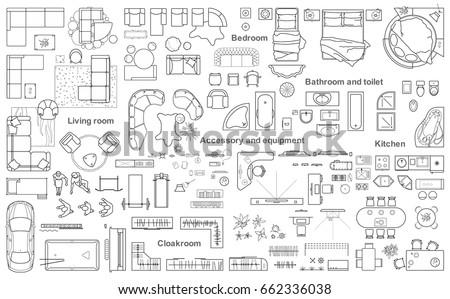 White house floor plan with interior on construction blueprint scheme, seamless pattern Stock photo © evgeny89