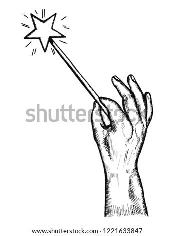 Hand holding Magic Wand with sparkles Icon. Stock Vector illustration isolated Stock photo © kyryloff