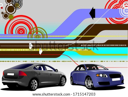 Abstract hi-tech background with two car sedan images. Vector il Stock photo © leonido