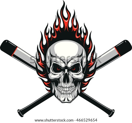 Baseball Face with Flaming Hair Vector Image Stock photo © chromaco