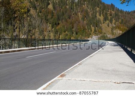 Bridge Across Lake Sylvenstein Water Reserve In Bavaria Germany Stok fotoğraf © haraldmuc