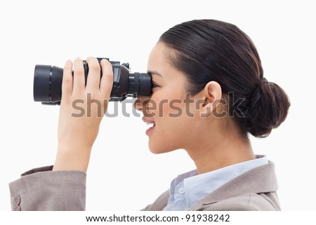 ストックフォト: 女性実業家 · 見える · 双眼鏡 · 白 · 作業 · 背景