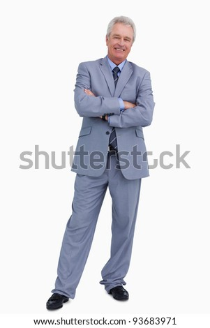 Smiling mature tradesman with his arms folded against a white background Stock photo © wavebreak_media