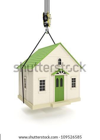 Ilustração 3d conduzir casa gancho guindaste casa Foto stock © kolobsek