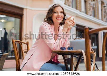 Outdoors portrait of beautiful smiling woman model in pink bloss Stock photo © Victoria_Andreas