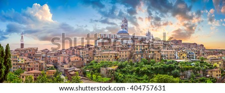 Panoramic View of Santa Maria Cathedral and City of Siena, Tusca stock photo © anshar